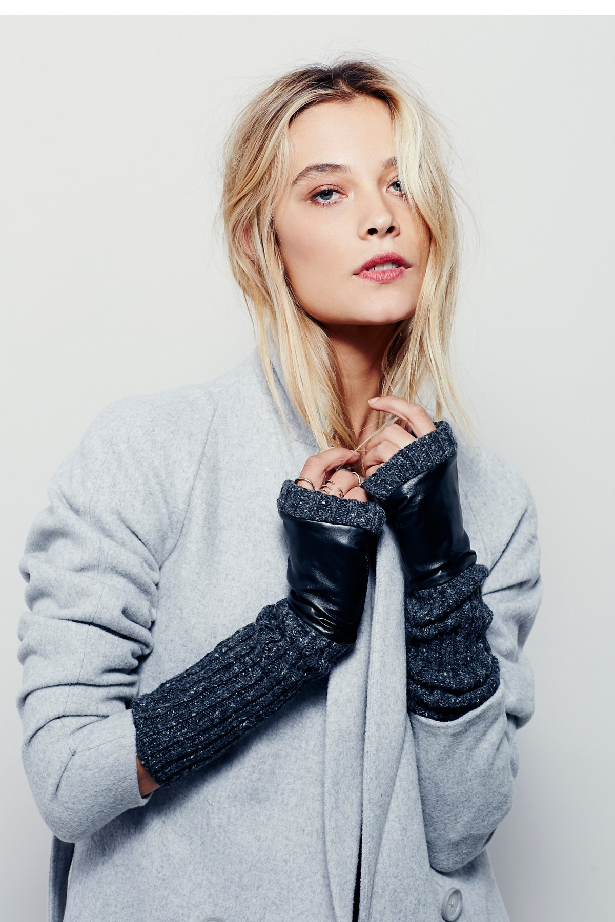 Runaway Knit Leather Fingerless Glove