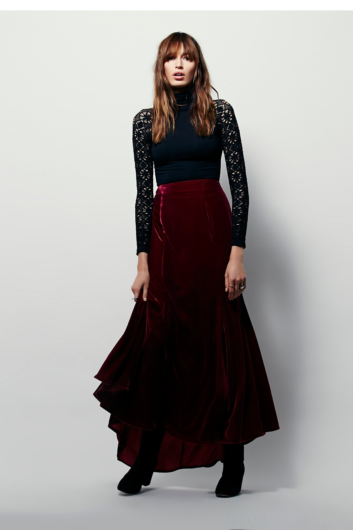 FP X Curtain Call Velvet Maxi Skirt