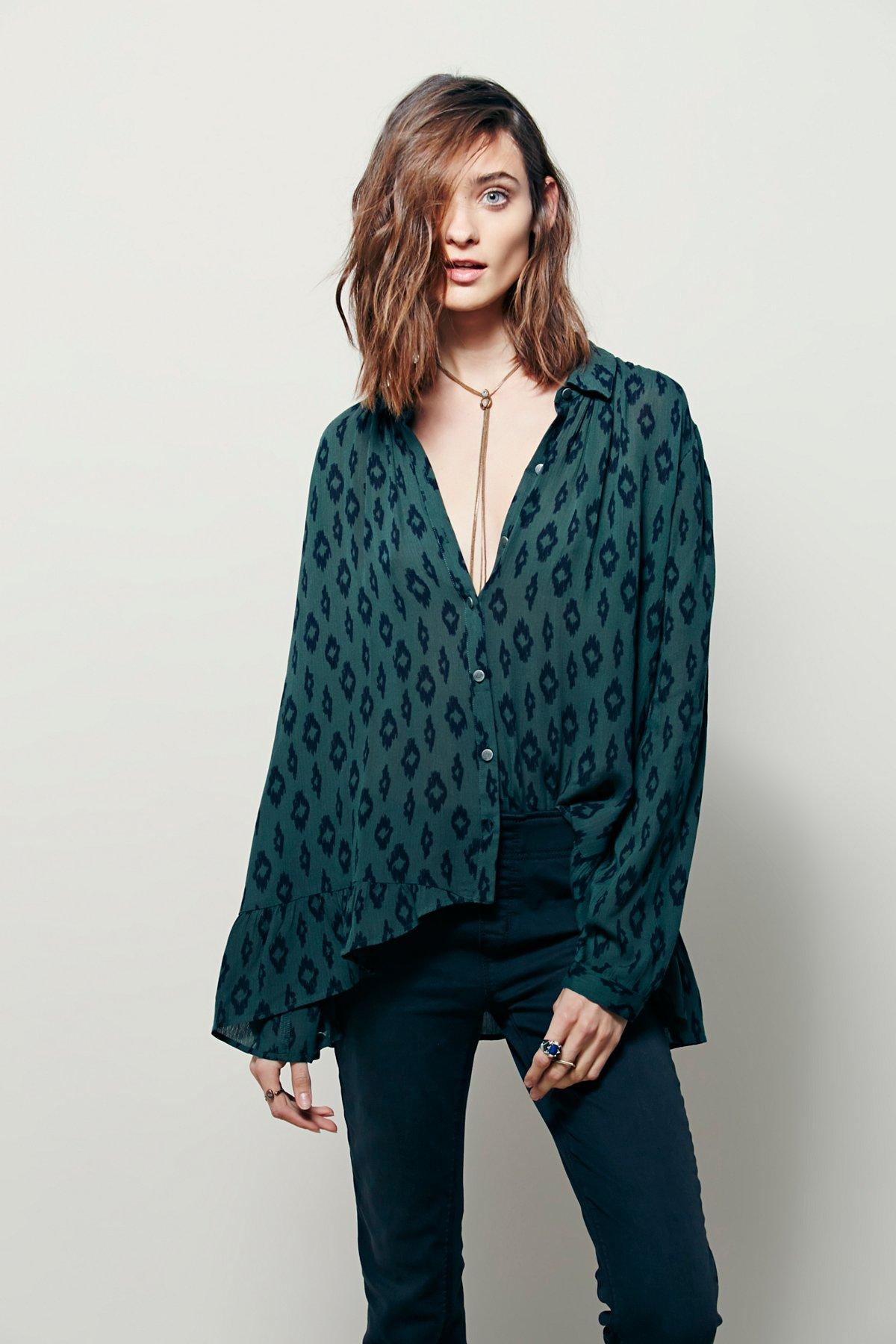 几何图案印花褶皱下摆系扣衬衫