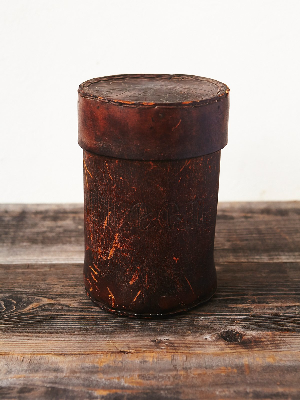 Vintage 70s Leather Canister