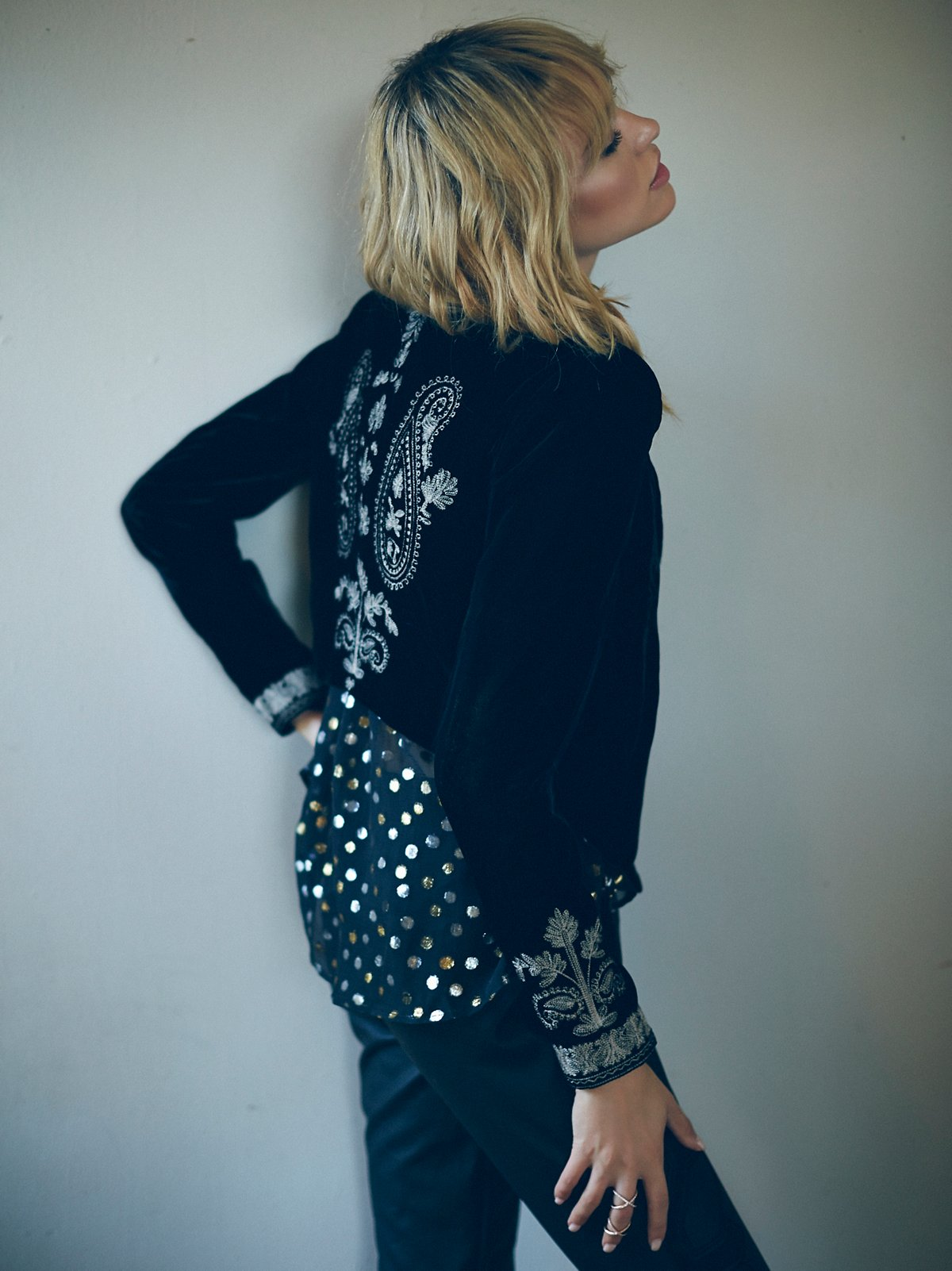 Embroidered Velvet Cropped Jacket