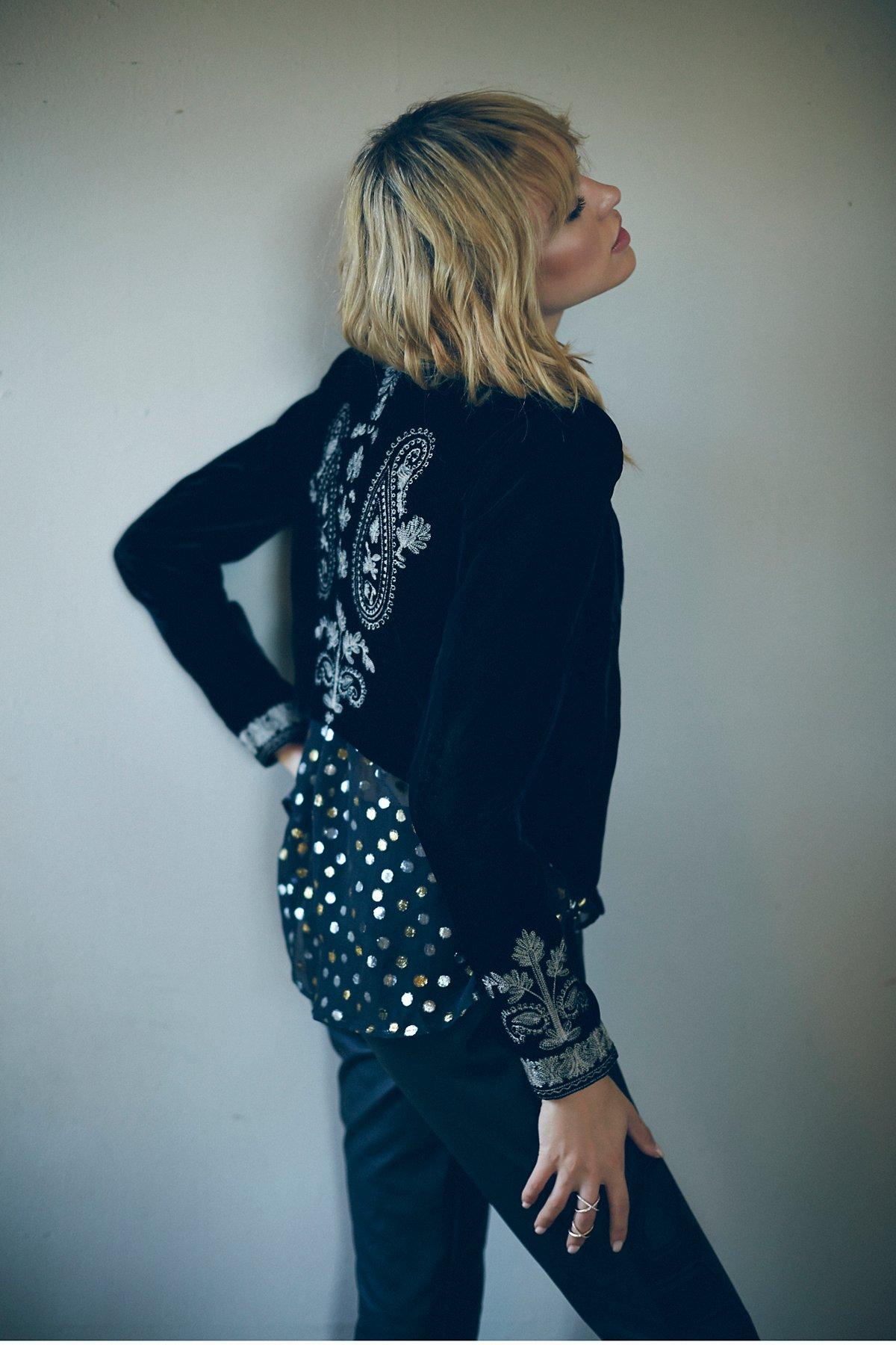 Embroidered Velvet Cropped Jacket