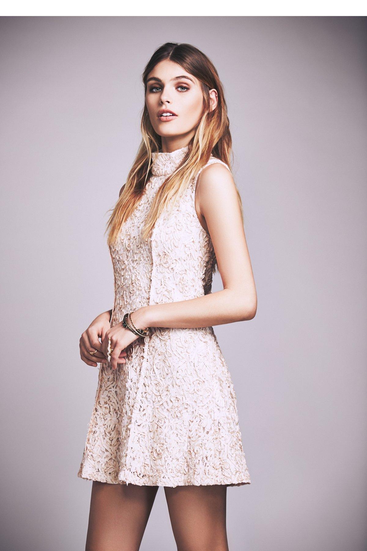 Queen Anne Mock Neck Mini Dress