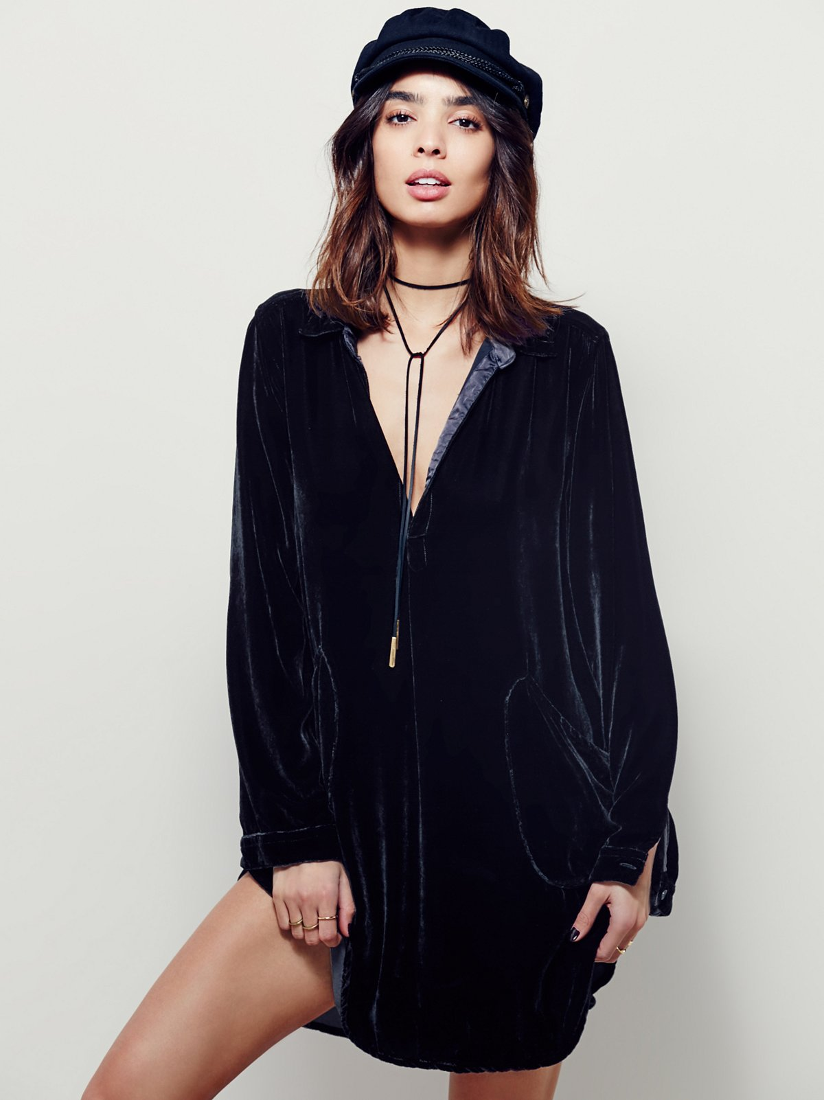 cozy velvet shirt dress at free people clothing boutique
