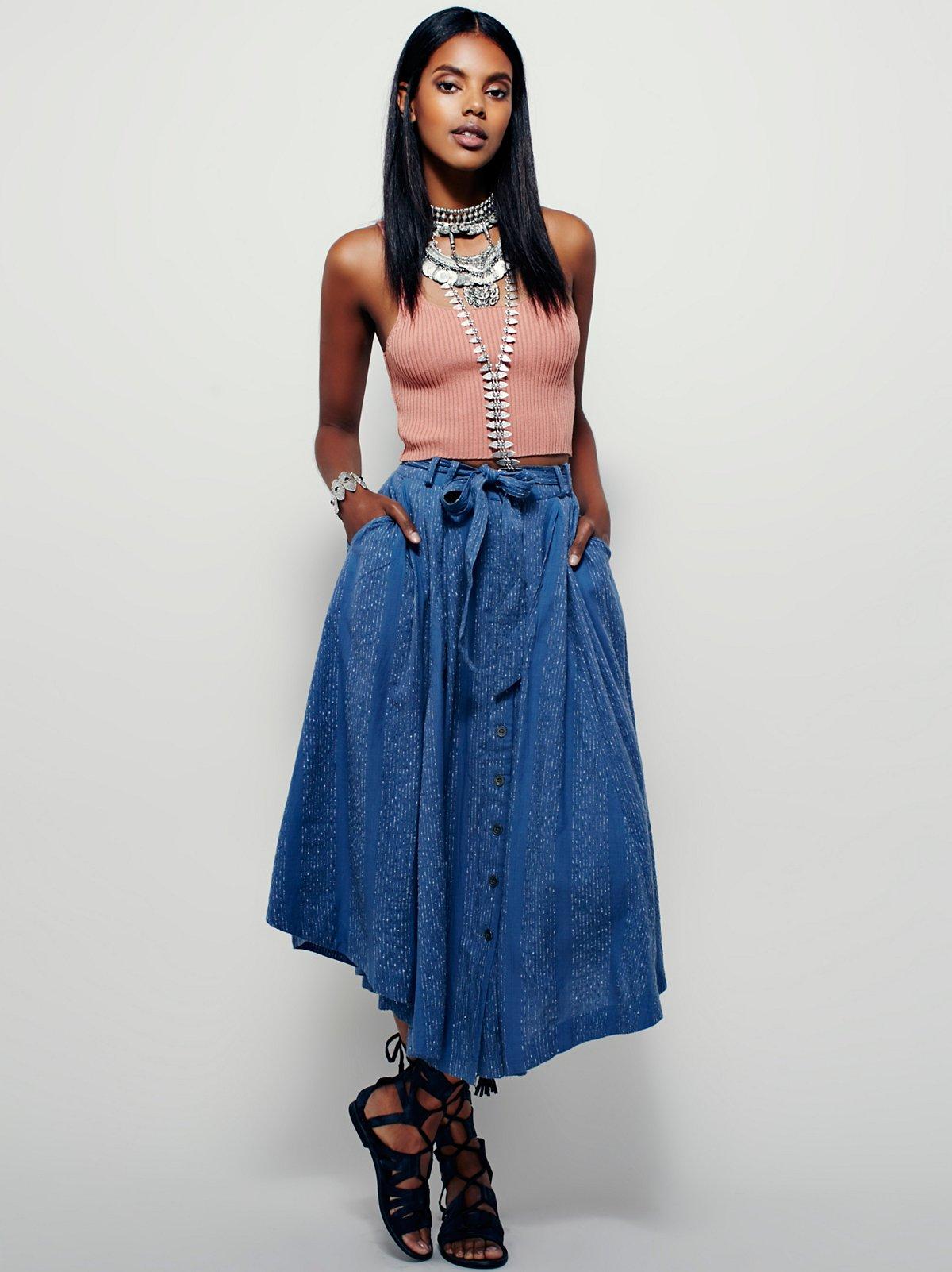 Faded Lines Midi Skirt