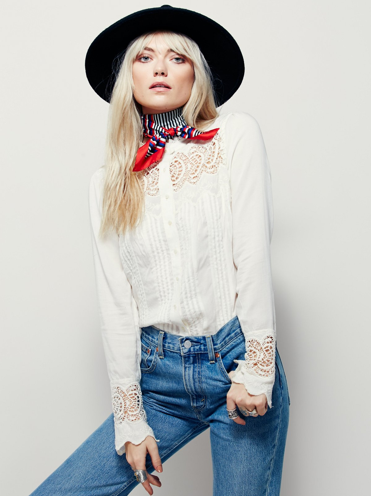 Leila Lace Buttondown Top
