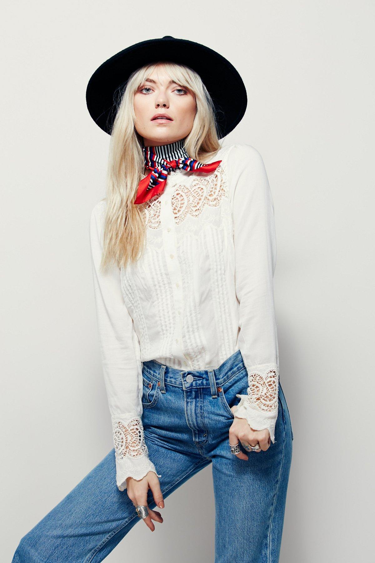 Leila Lace Buttondown Top