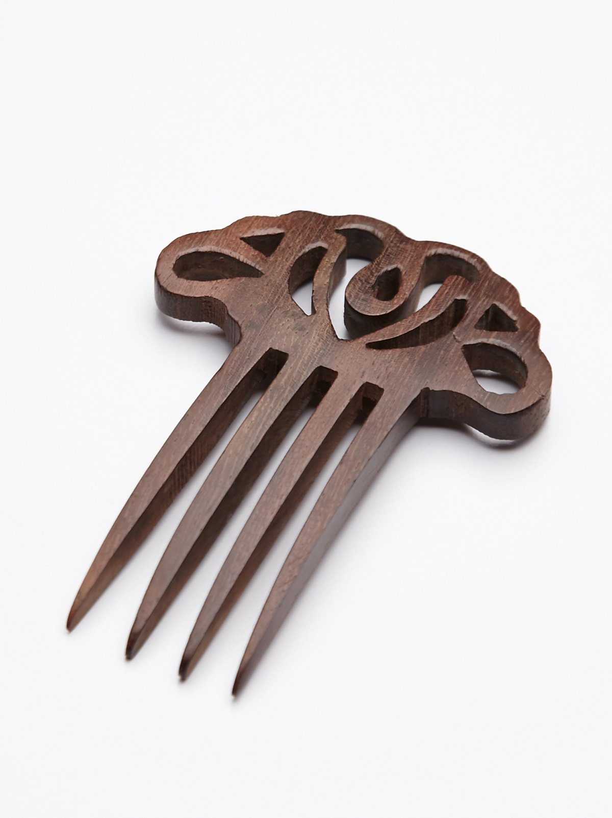 Carved Wood Hair Pick