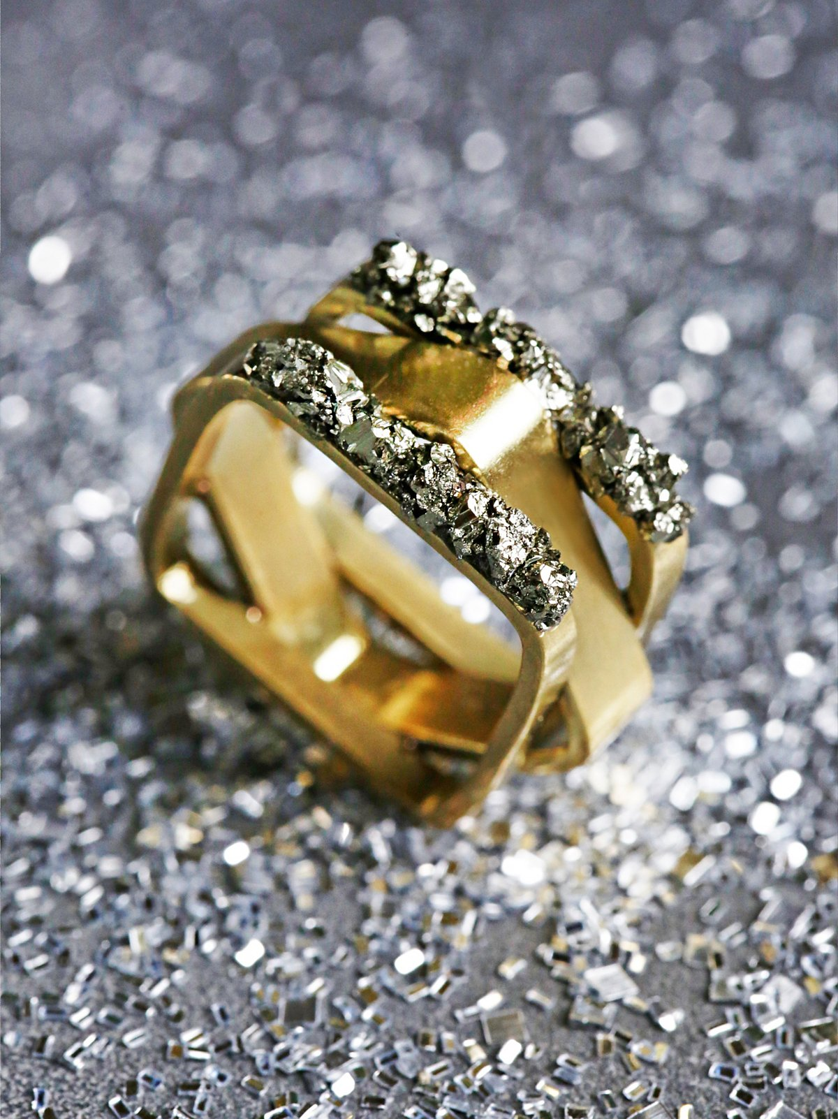 Pyrite Mixed Shape Ring