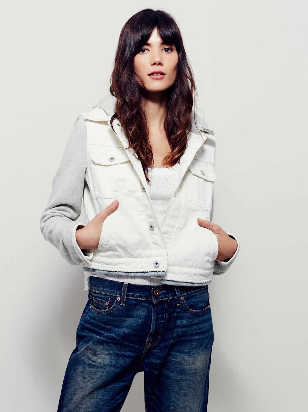 Denim  Knit Cropped Jacket