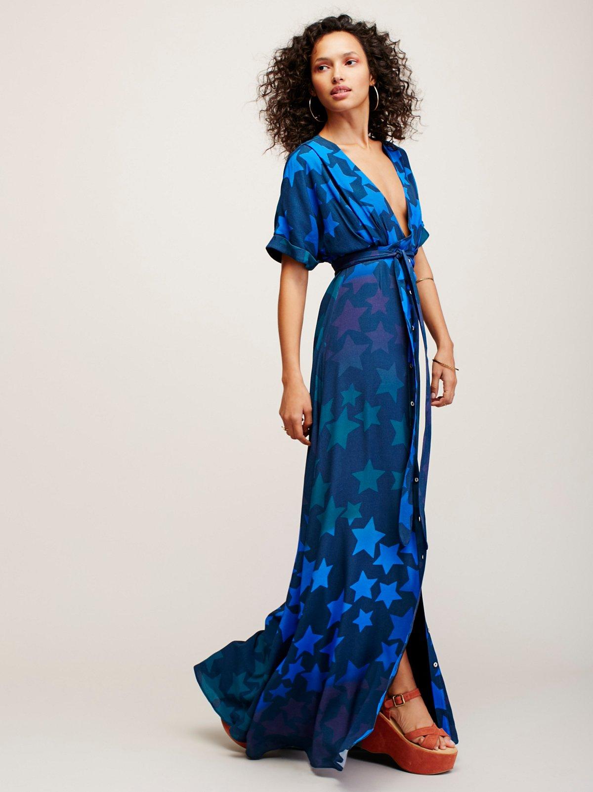 星星图案正面系带连衣裙