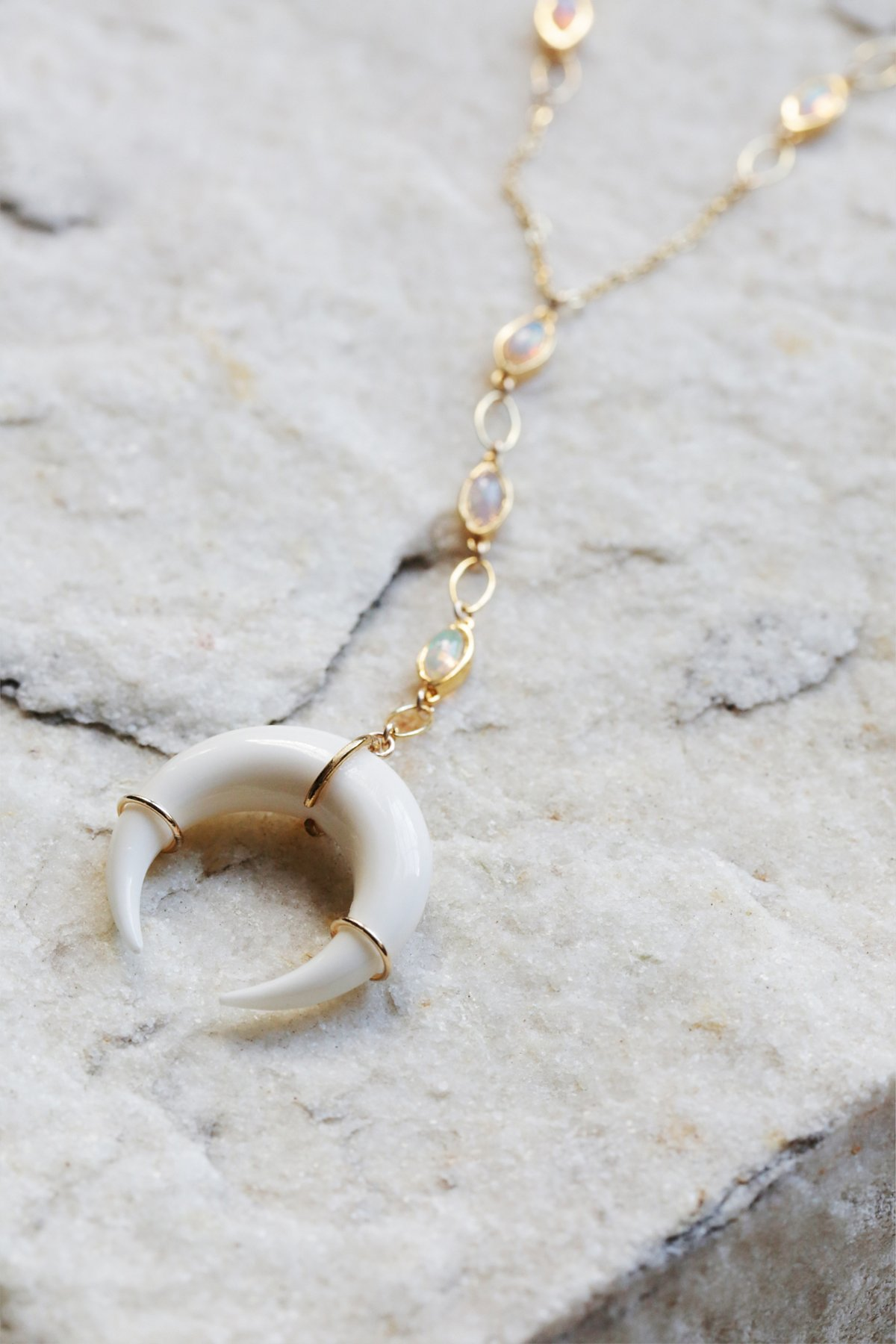 Opal Horn Lariat Necklace