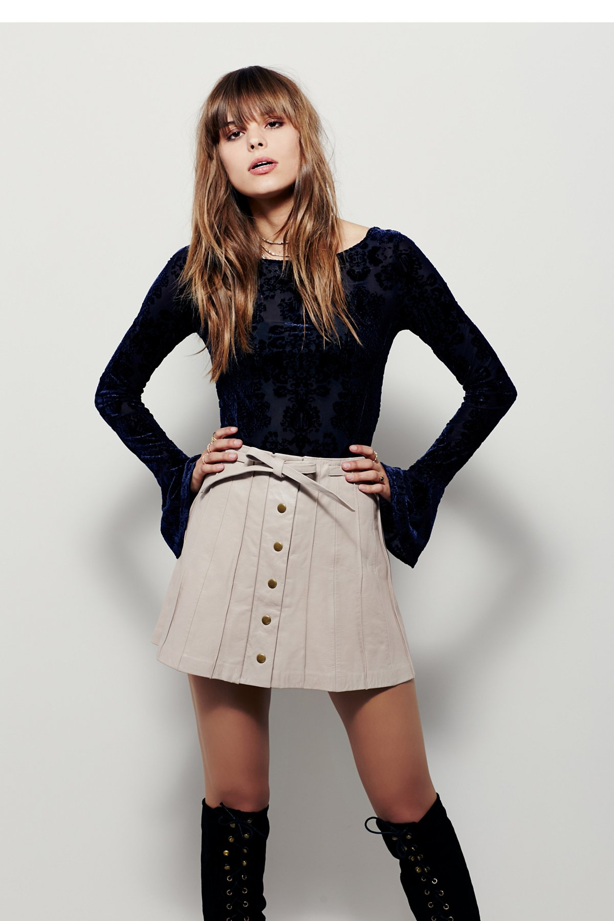 Mini Mini皮革半身裙