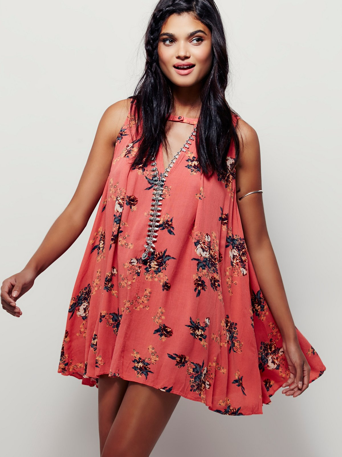Faded Floral Sleeveless Tunic