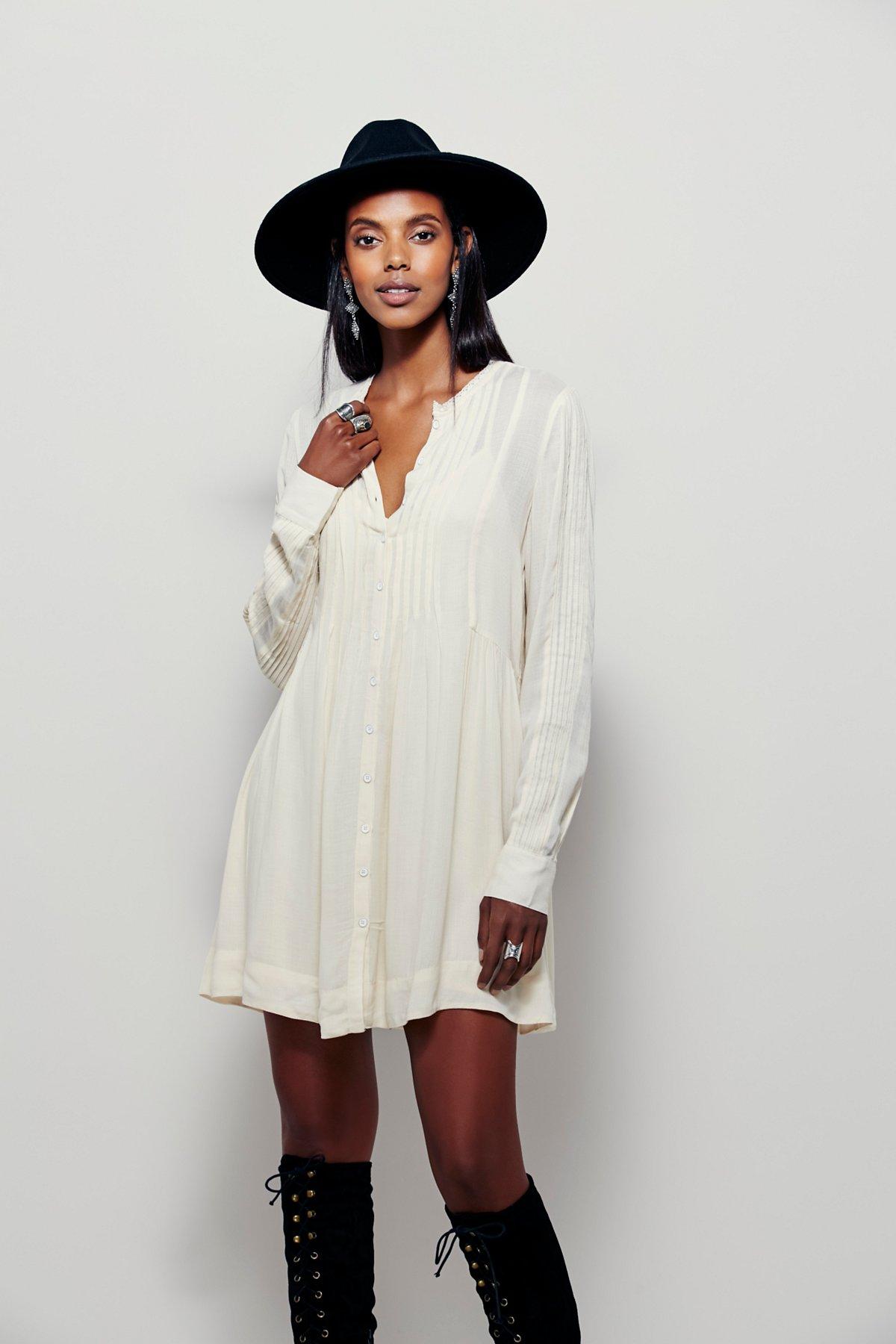 Pintuck衬衫式连衣裙