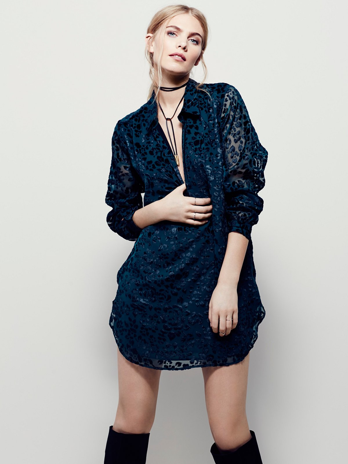 Burnout Velvet Mini Dress