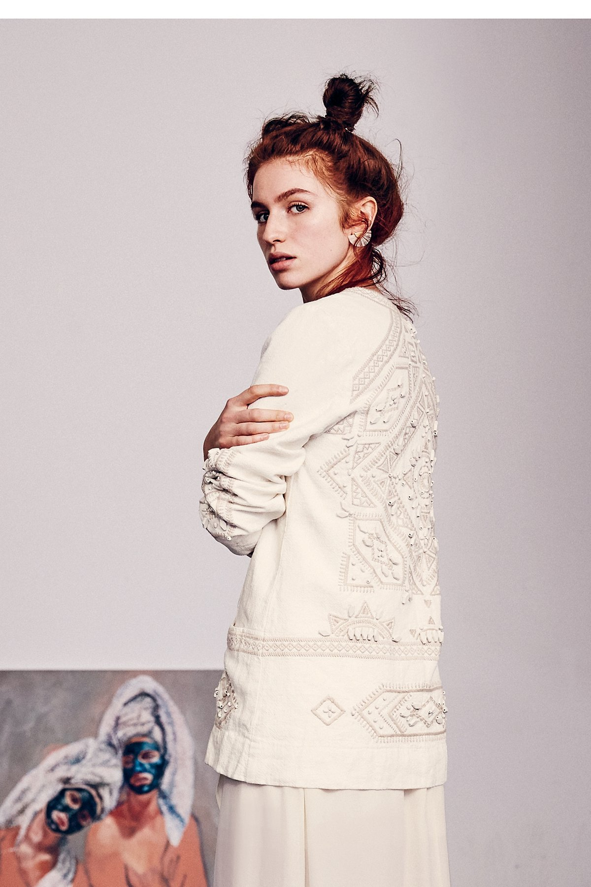 Embroidered Easy Open Jacket