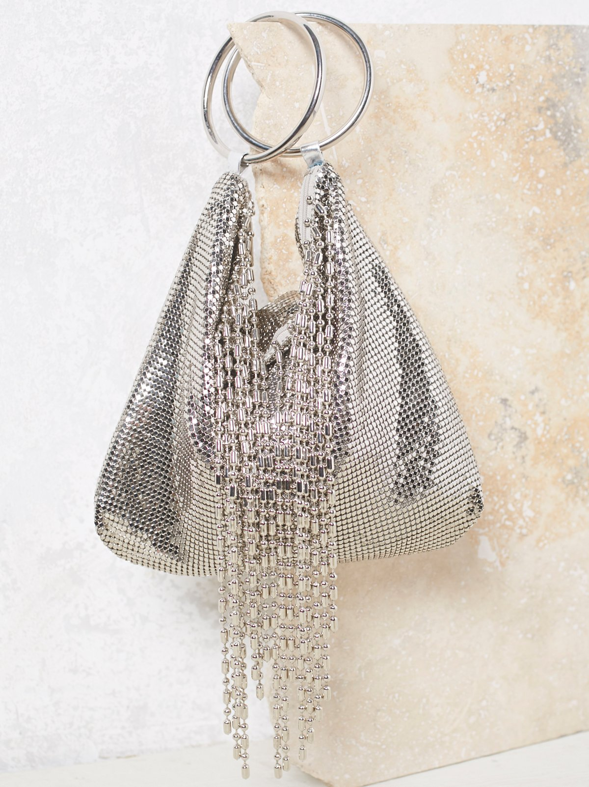 Ball Fringe Chainmail Clutch