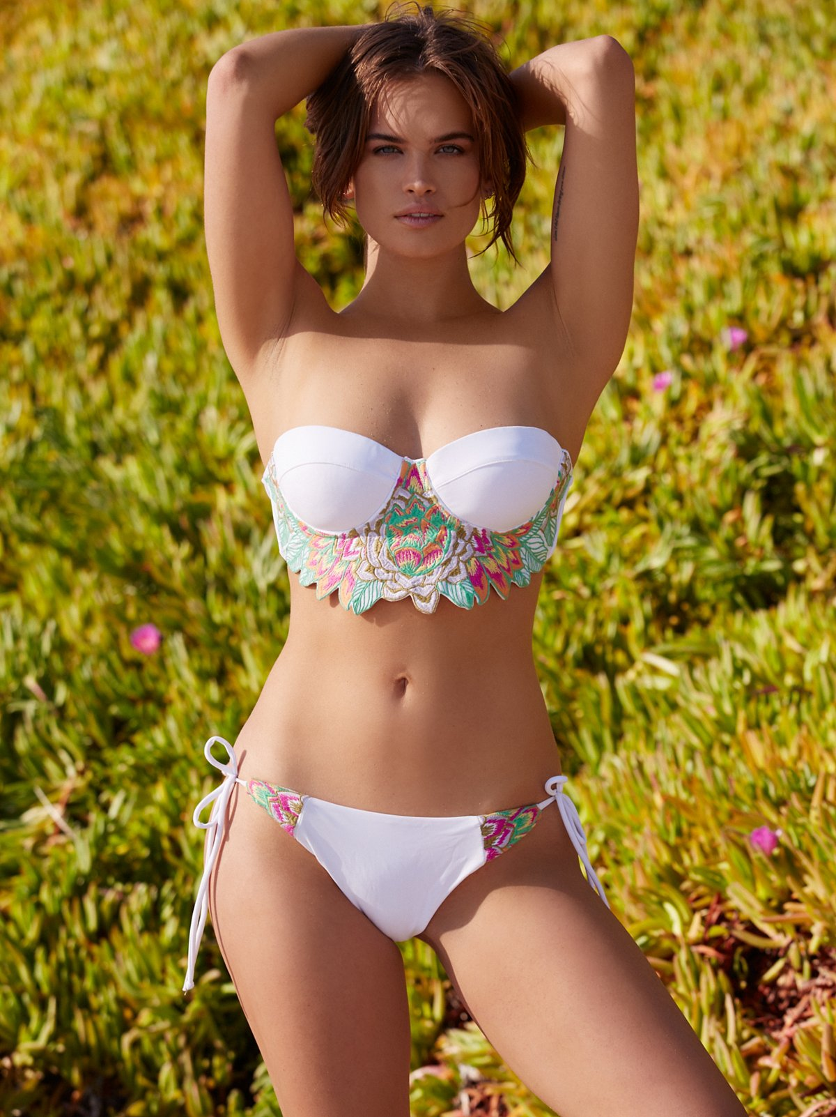 Floral Embroidered Bikini Bottoms