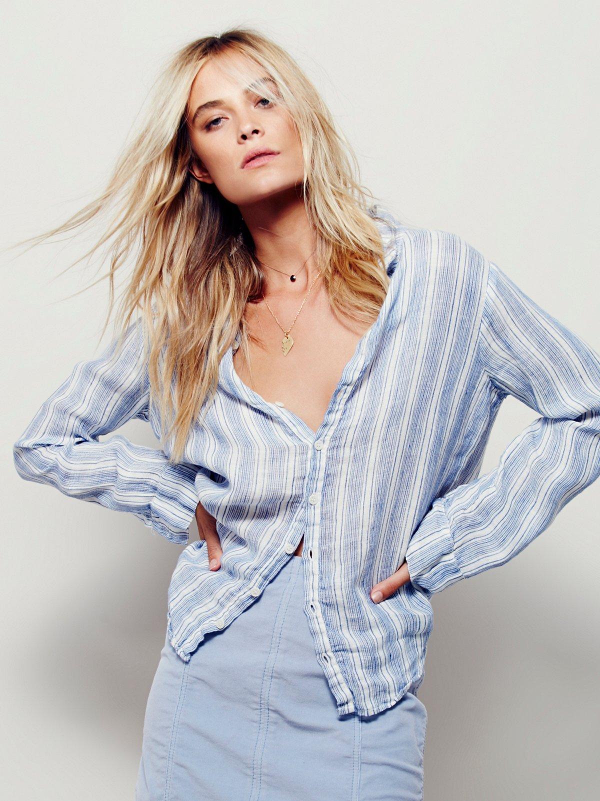 Carine Linen Stripe Buttondown