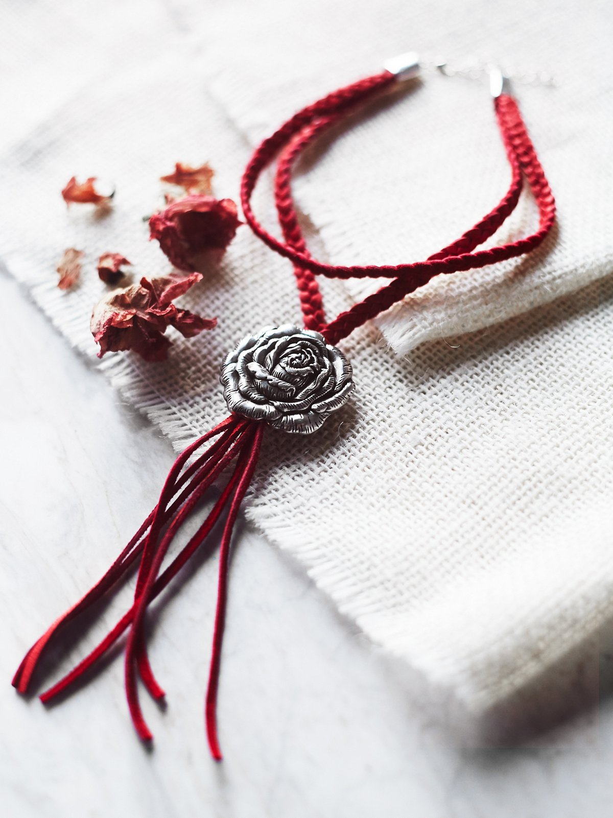 Wild Rose Leather Bolo