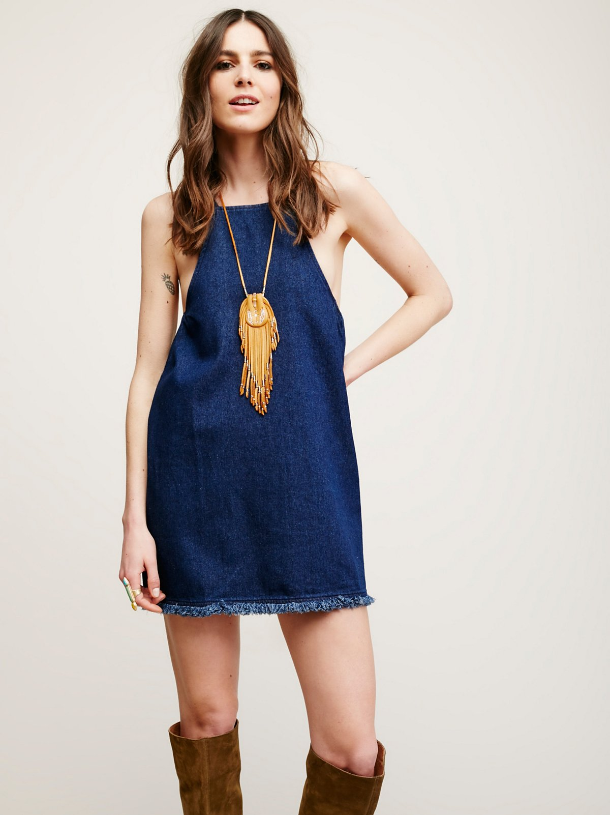 Lace Up Back Denim Tunic