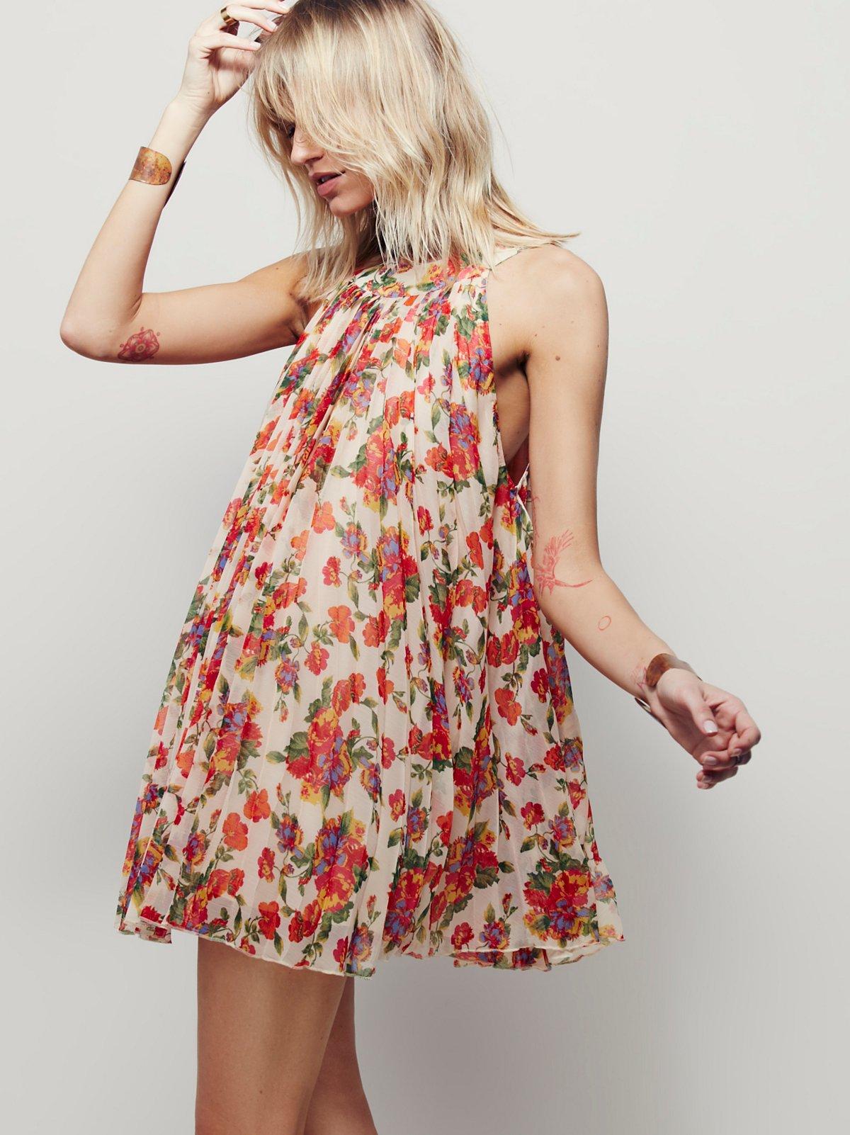 花卉褶饰迷你连衣裙