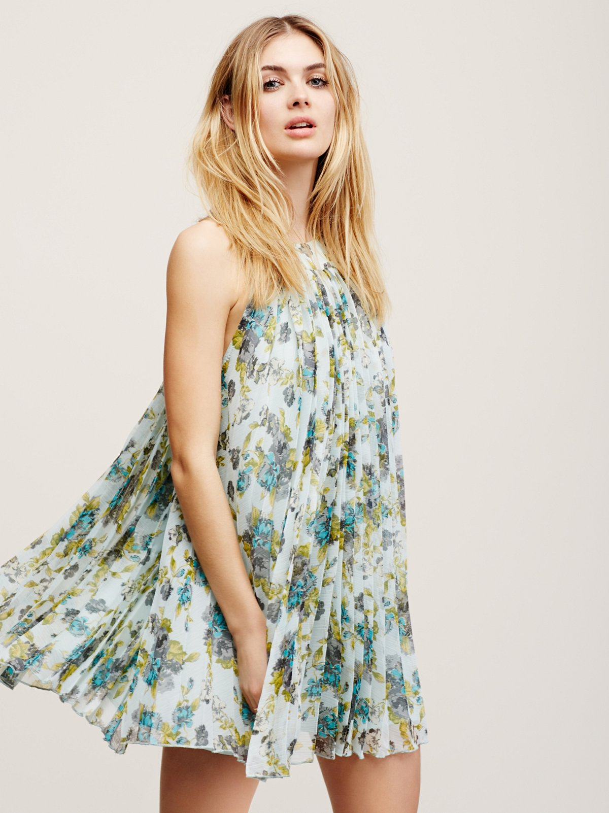 Floral Pleated Mini Dress
