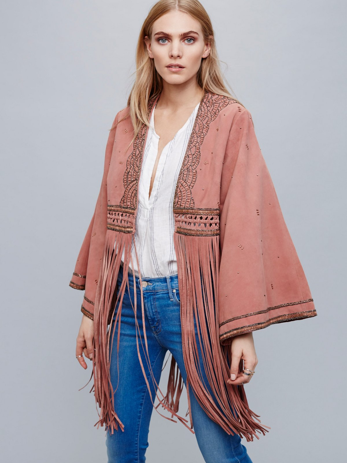 Dramatic Sleeve Suede Kimono