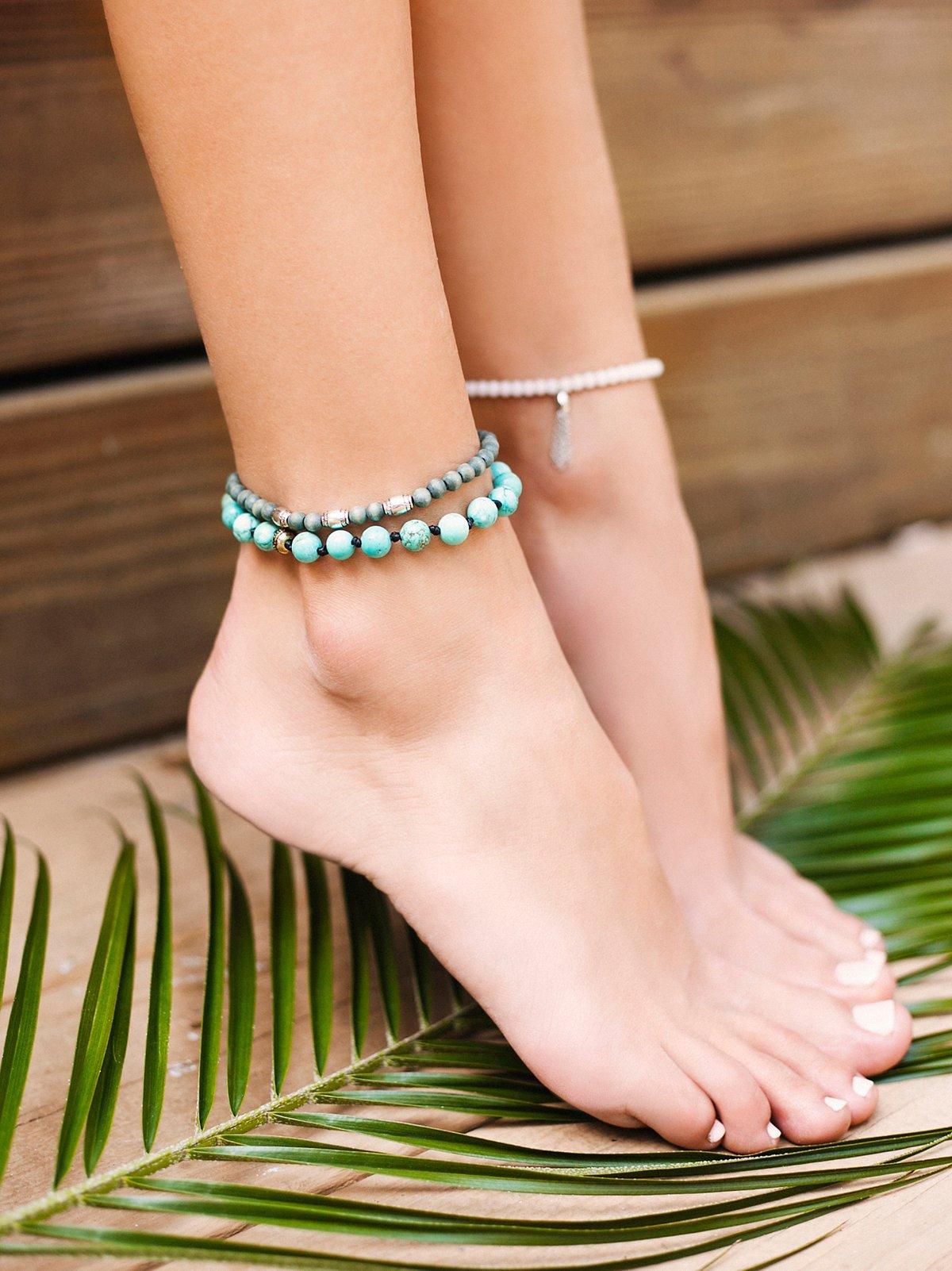 Sandbar Beaded Anklet Set