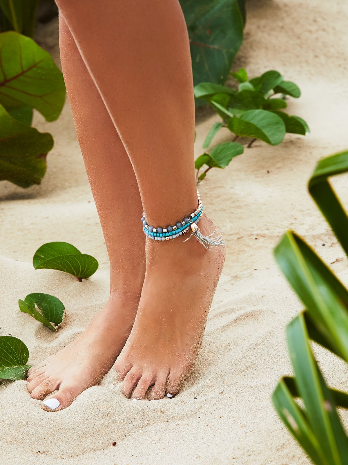 Sandbar Beaded Anklet Set