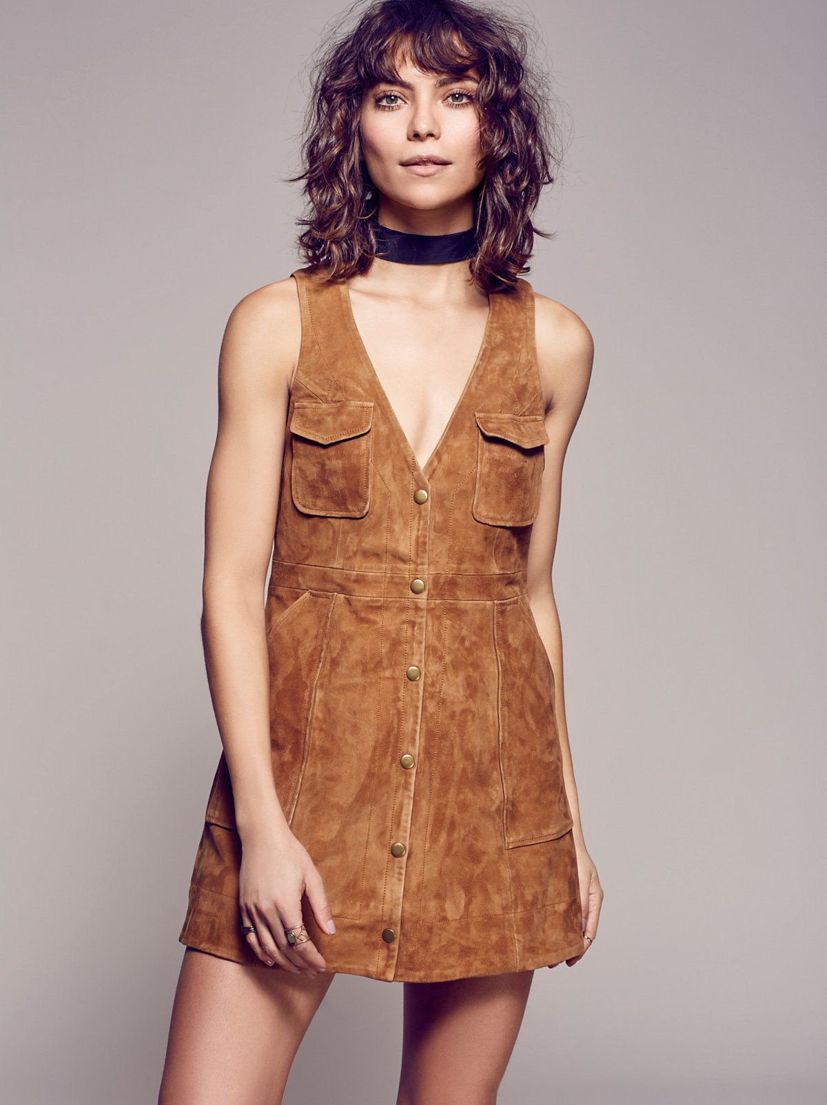 Suede Jumper Dress