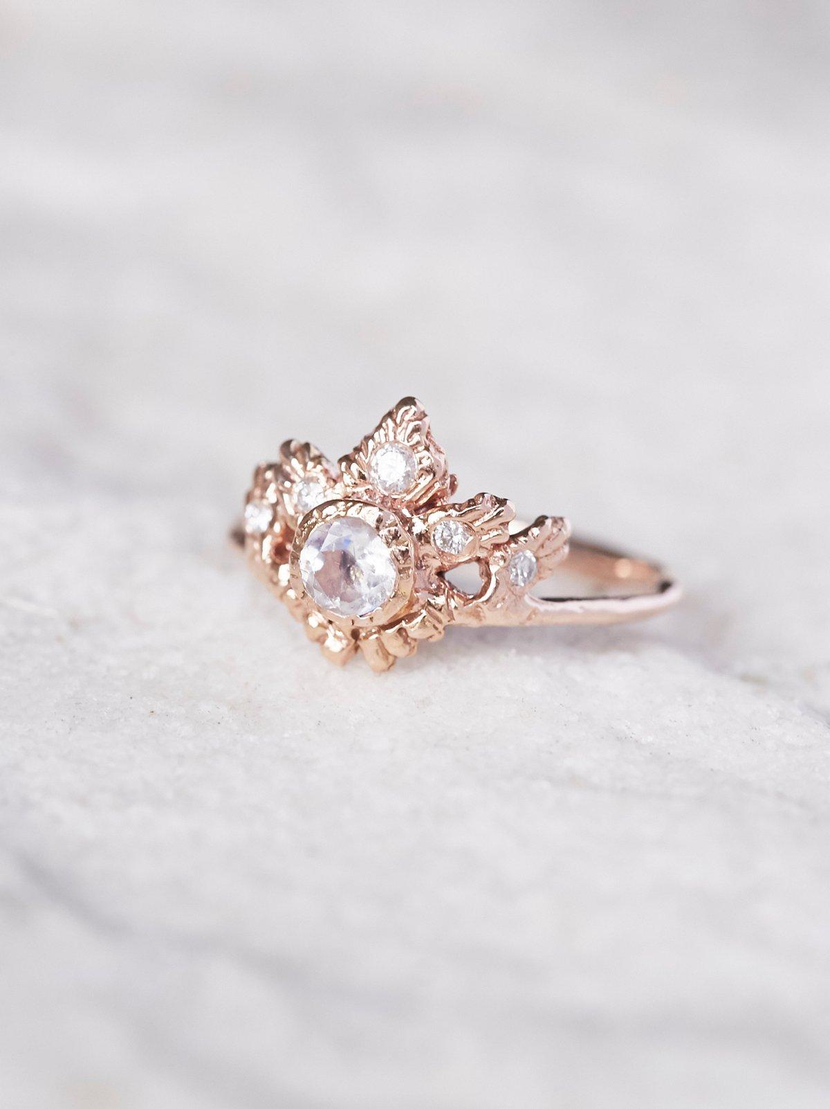 14K Rapture Moonstone x Diamond Ring