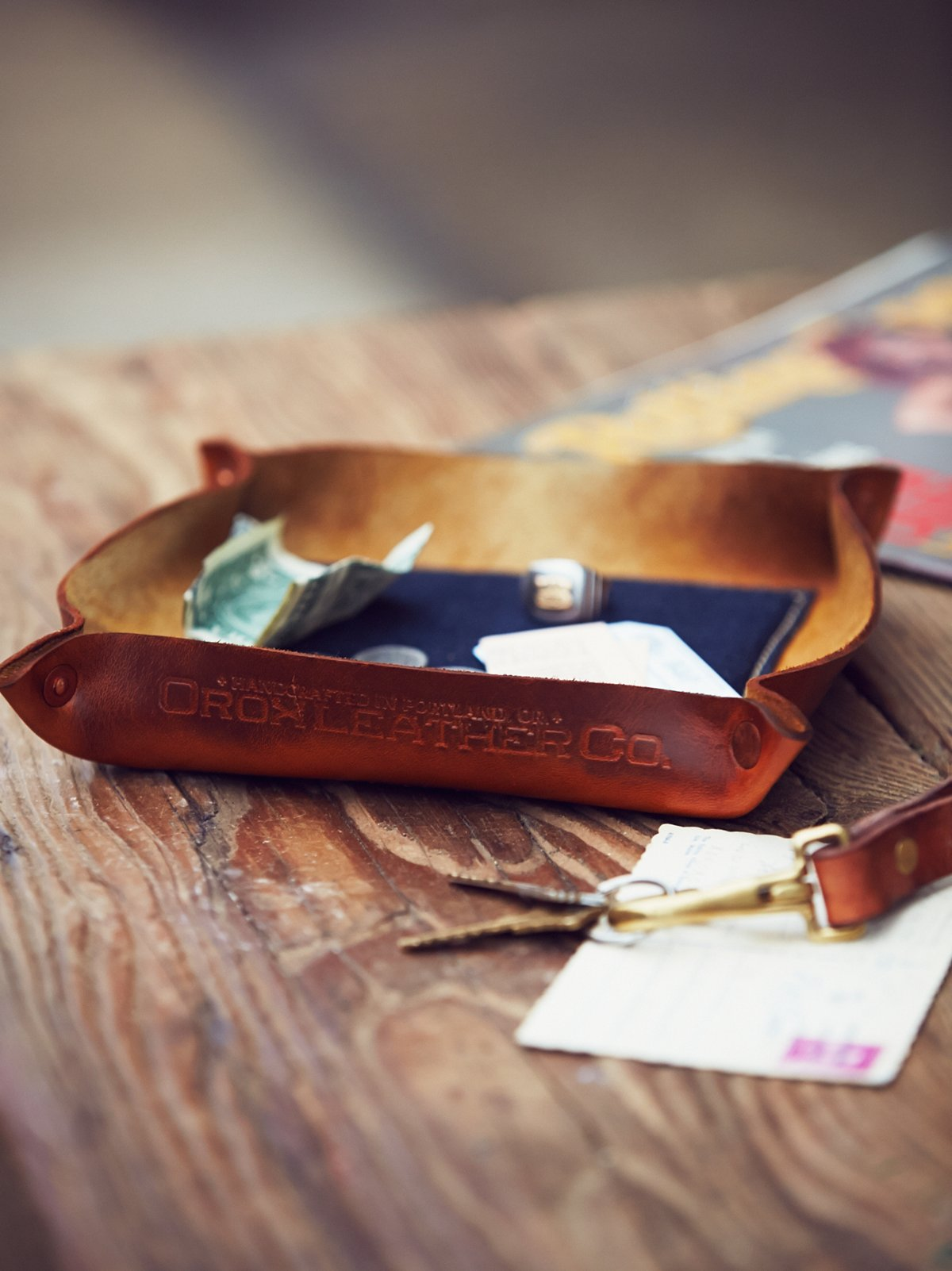 Leather  Denim Catchall Tray
