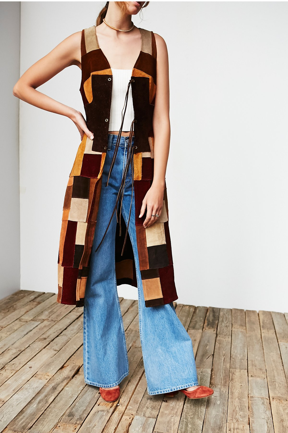 Vintage '70s Suede Patchwork Dress