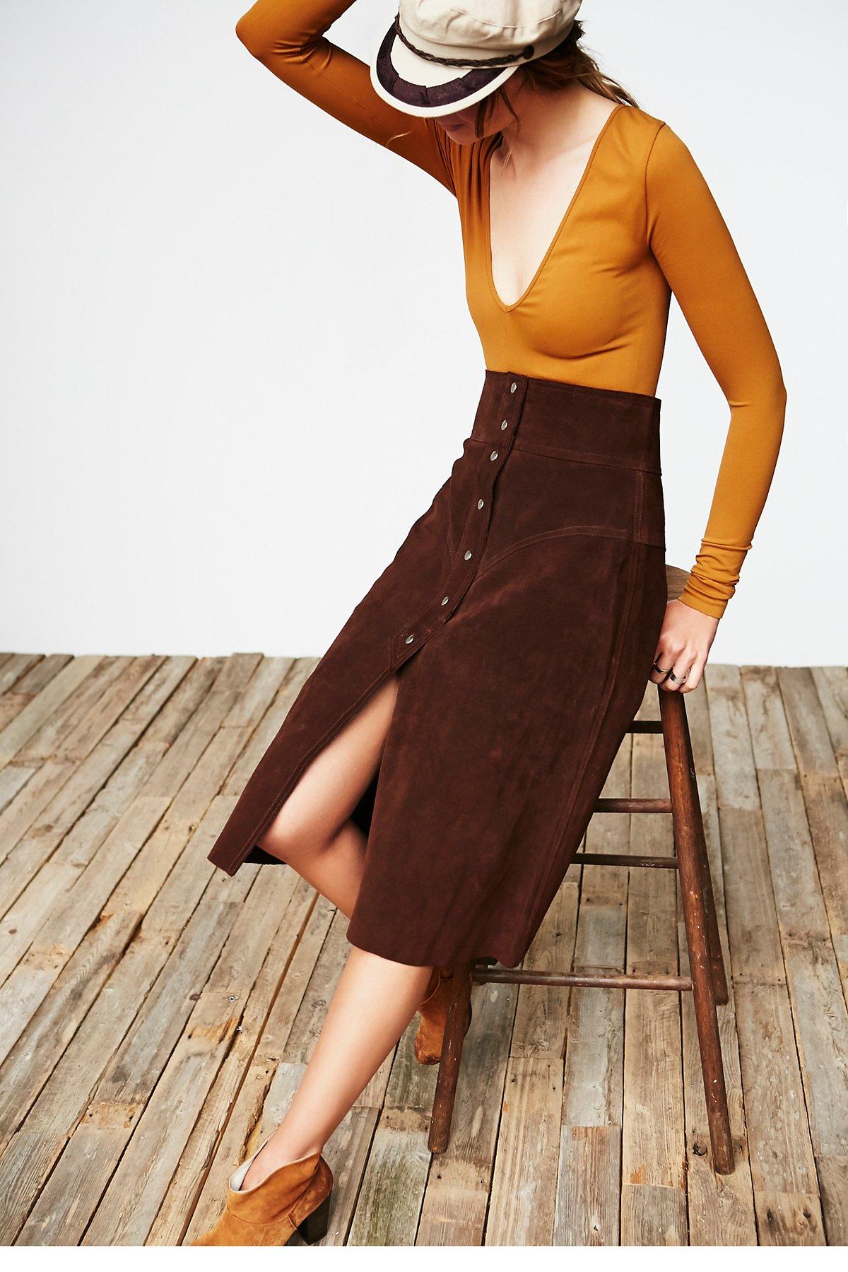 Vintage Suede Button Skirt