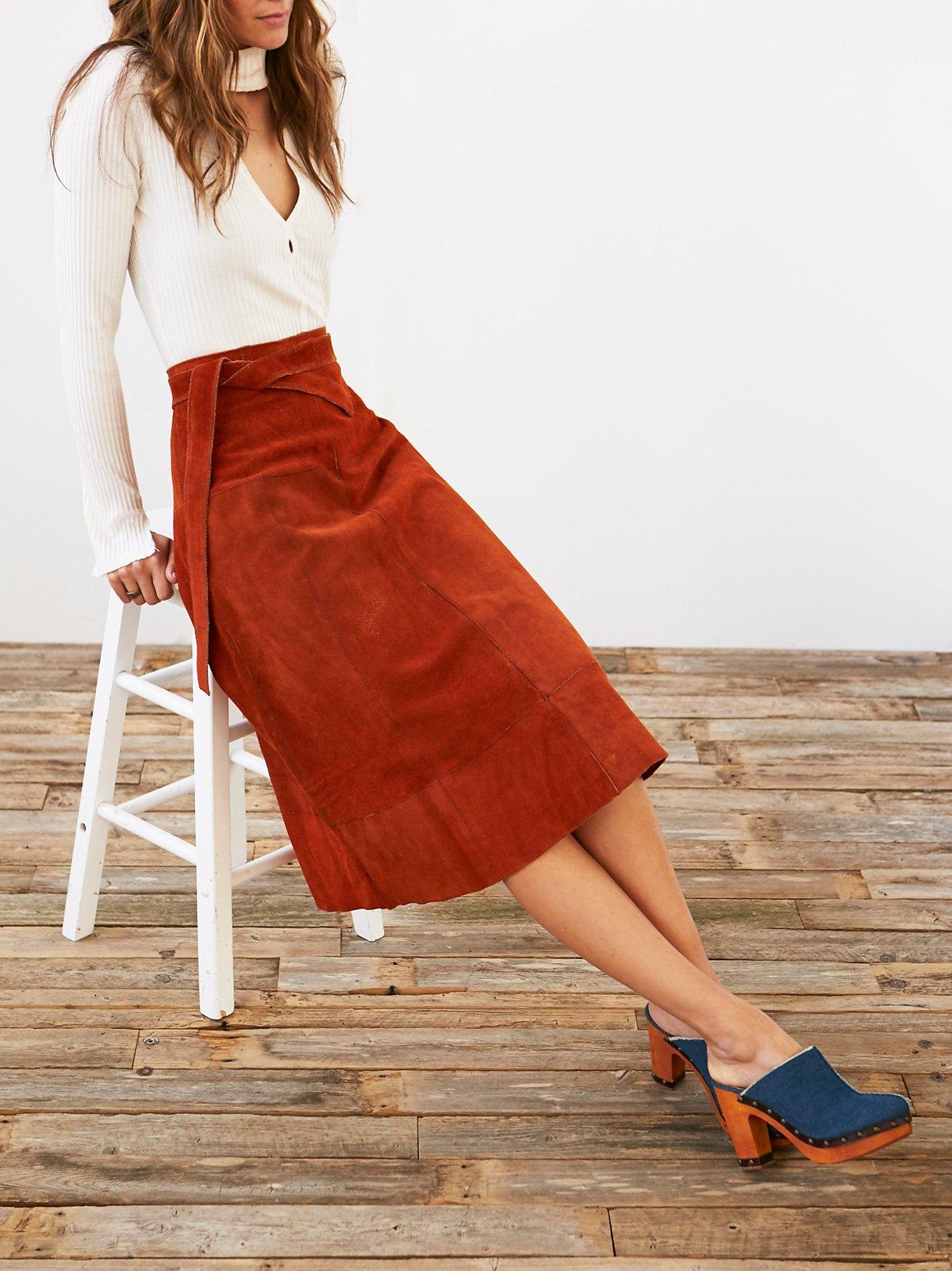 Vintage Suede A-Line Skirt