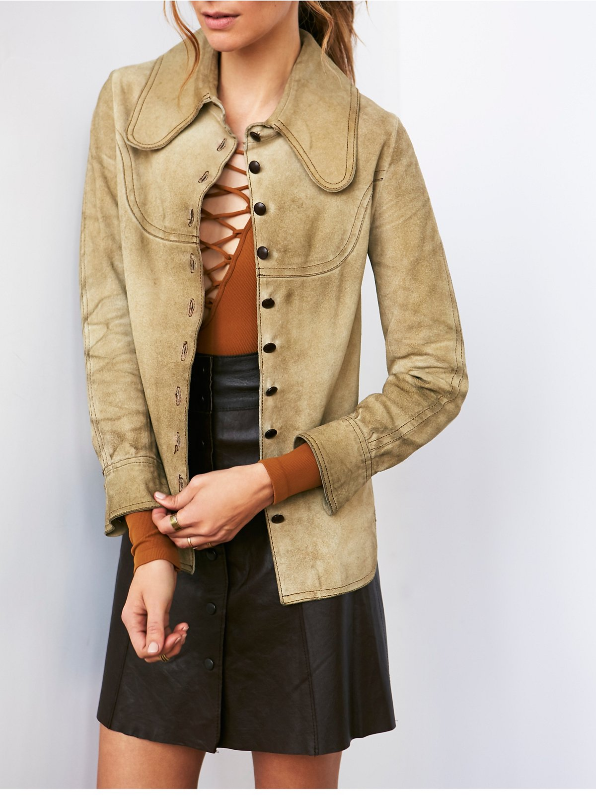 Vintage Suede Button Front Jacket