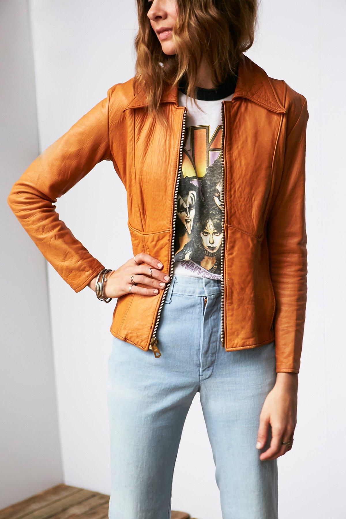 Vintage Leather Zip Jacket