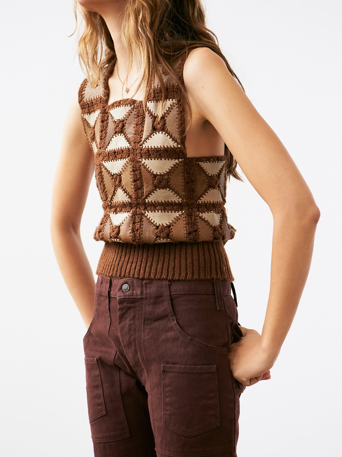 Vintage Suede Patchwork Top