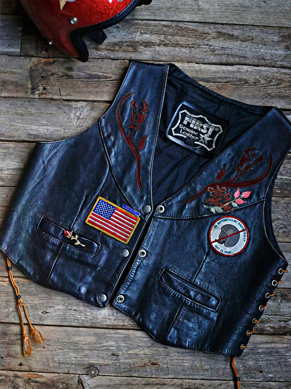 Vintage Patched Leather Vest