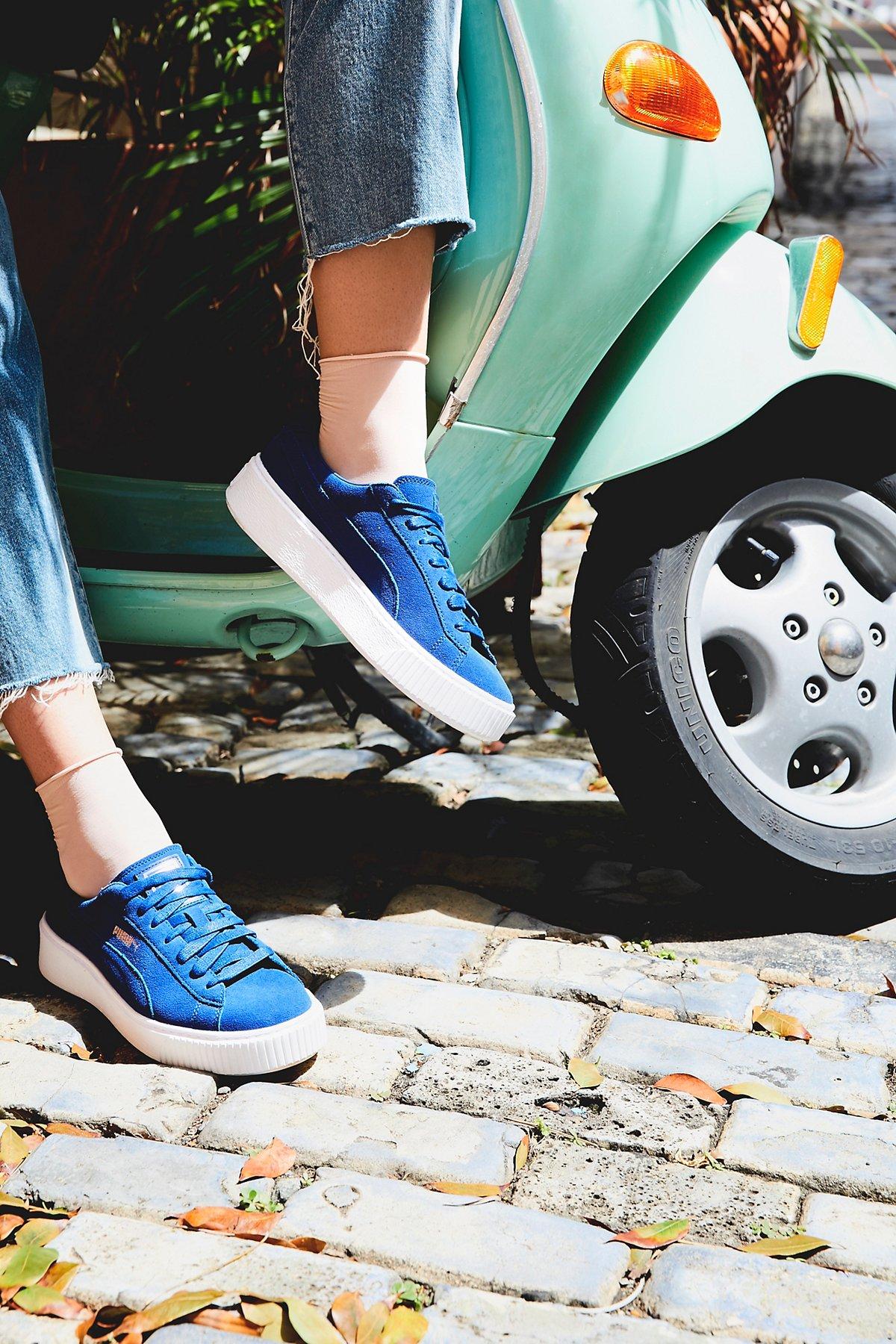 麂皮厚底运动鞋