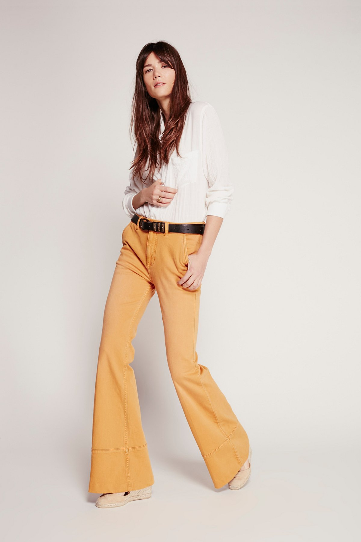 Liza拼缝喇叭裤