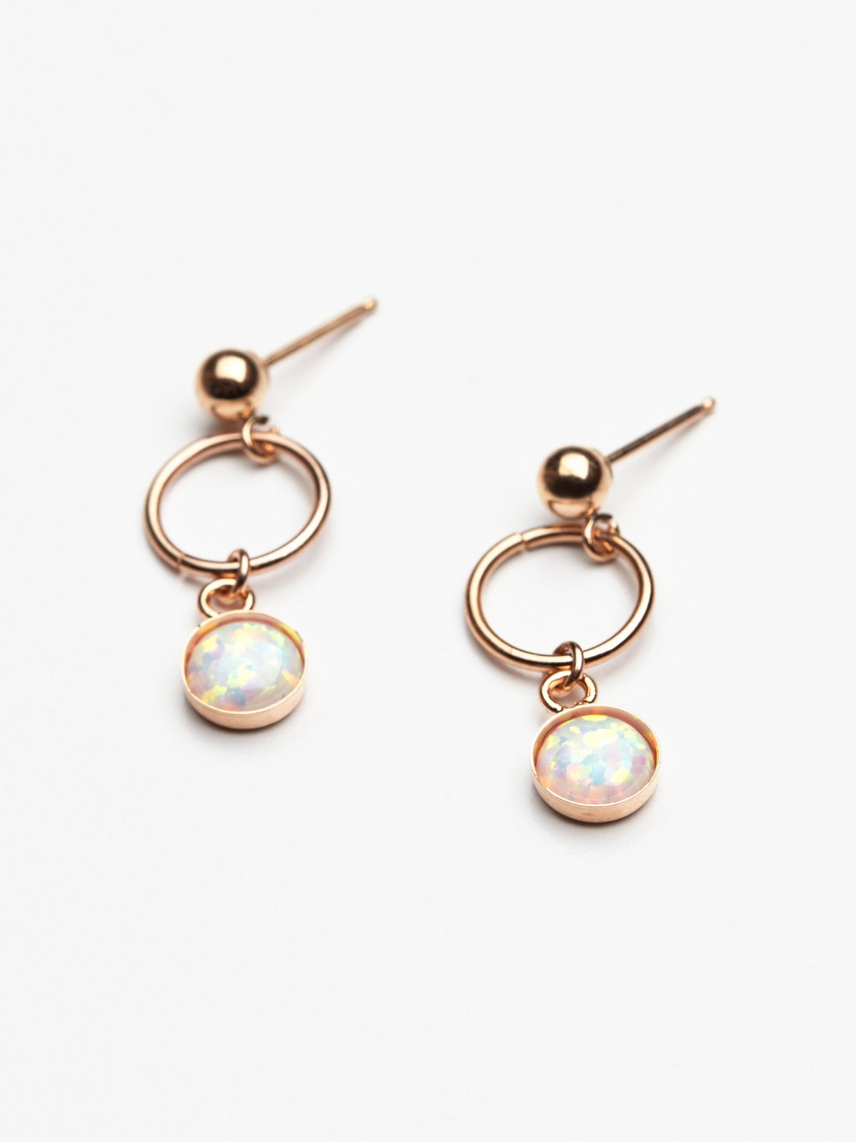 Opal Loop Stud Earring