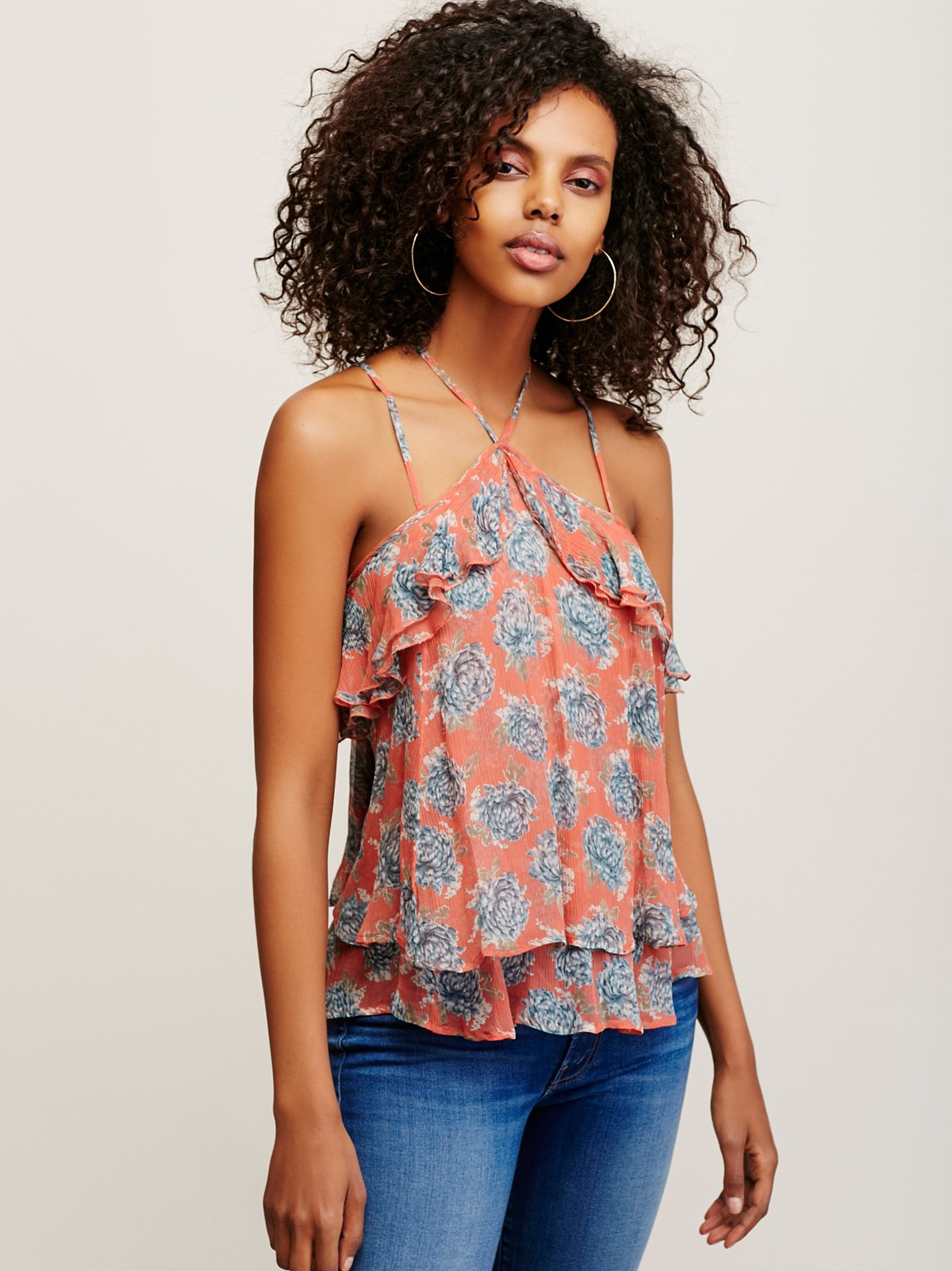 Retro Ruffle Halter Top