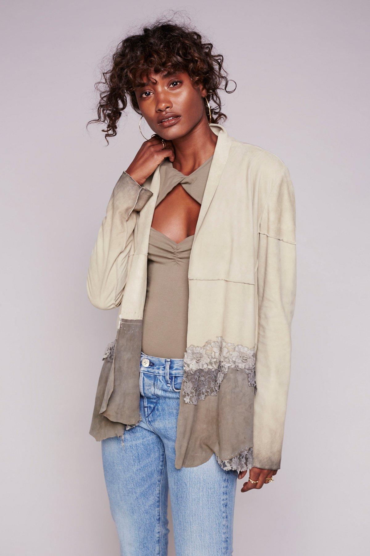 Floral Lace Suede Jacket