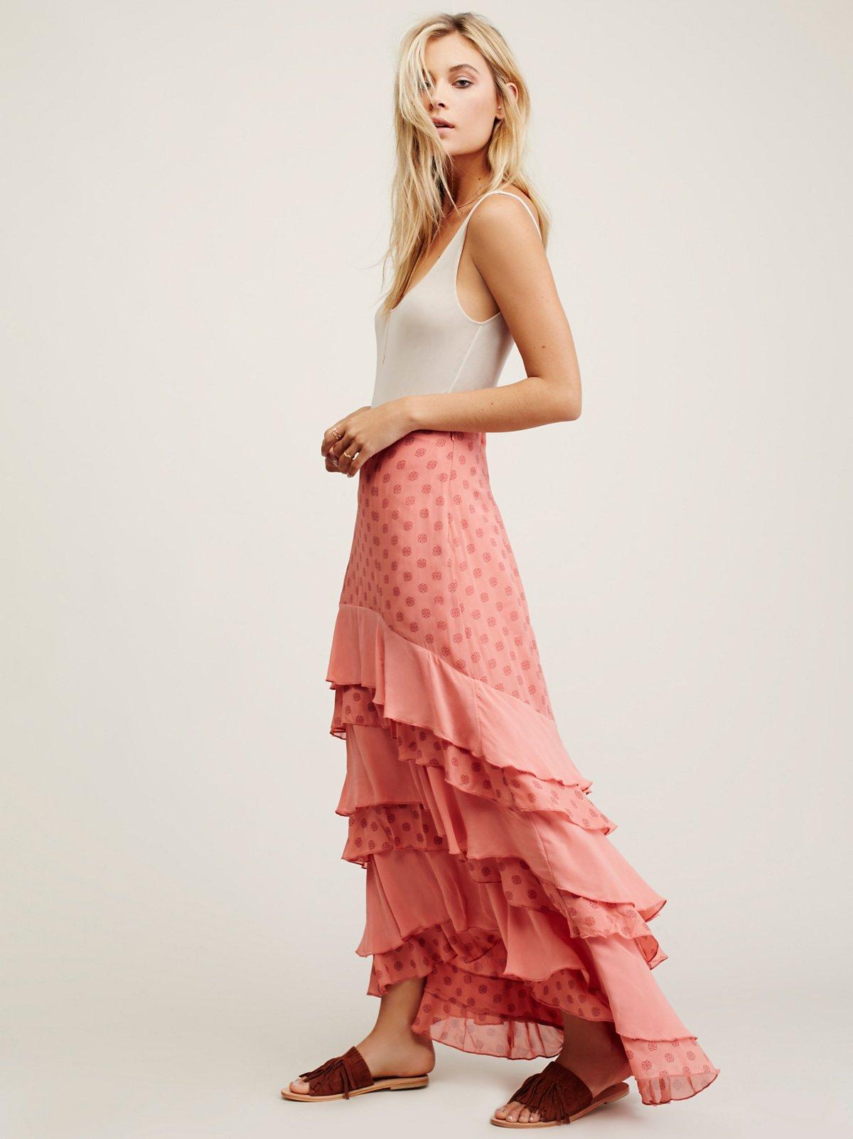 Wildflower荷叶边长款半身裙