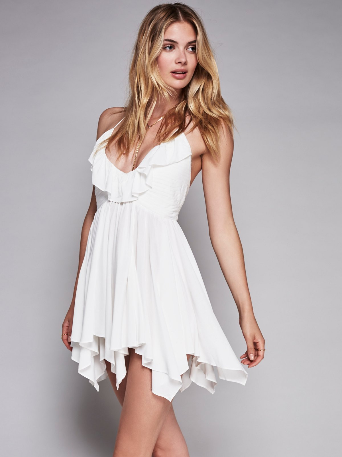 Solid Ruffle Fit and Flare Dress