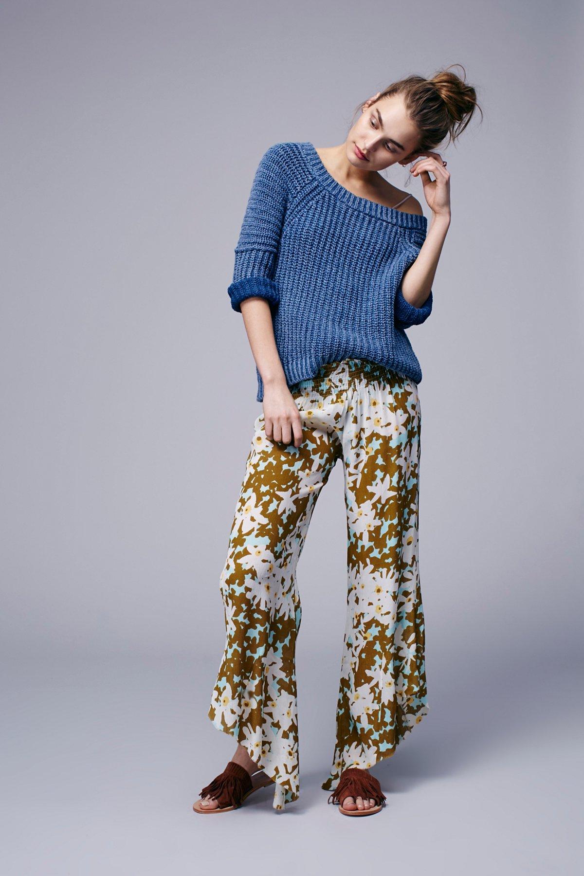 Lucina花卉图案嬉皮风长裤