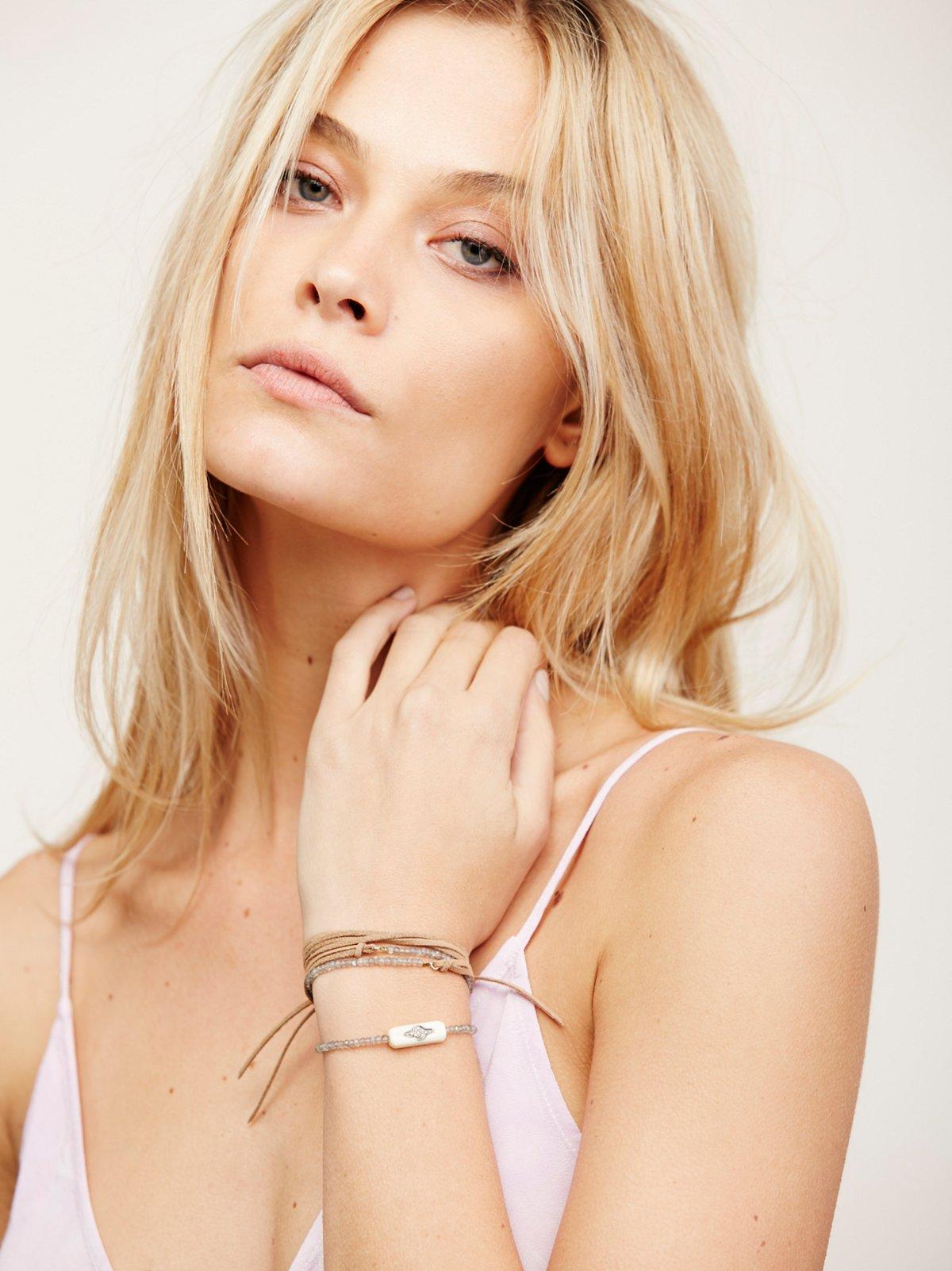 Suede and Pave Diamond Wrap Bracelet